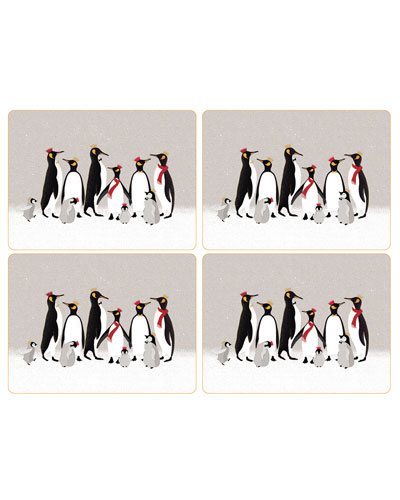 Christmas Penguins Large Placemats, Set of 4