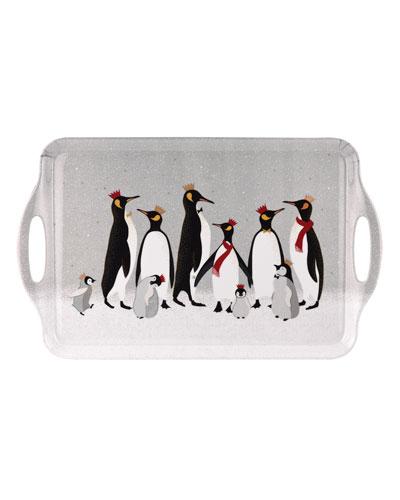 Christmas Penguin Large Melamine Handled Tray