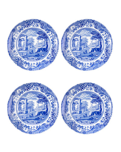 Blue Italian Bread and Butter Plates  Set of 4