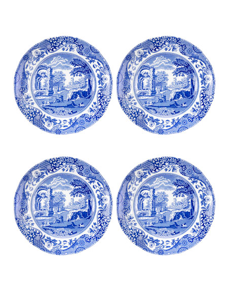 Blue Italian Bread and Butter Plates, Set of 4