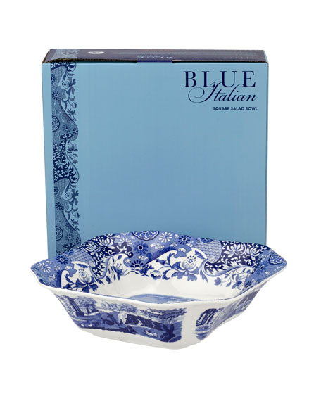 Blue Italian Square Serving Bowl