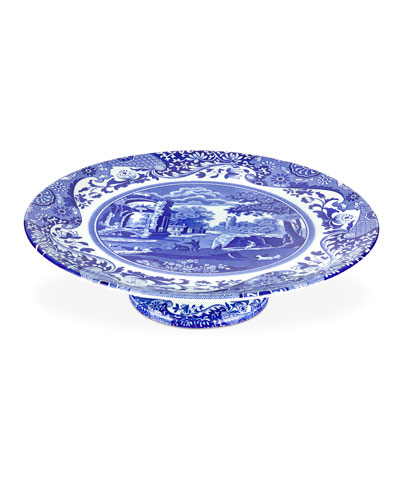 Blue Italian Footed Cake Plate