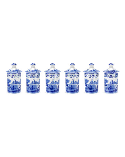 Blue Italian Spice Jars  Set of 6