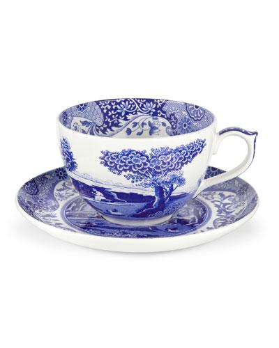 Blue Italian Jumbo Cup and Saucer