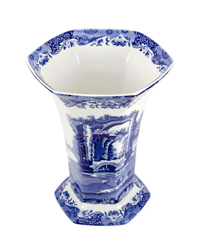 Blue Italian Hexagonal Vase