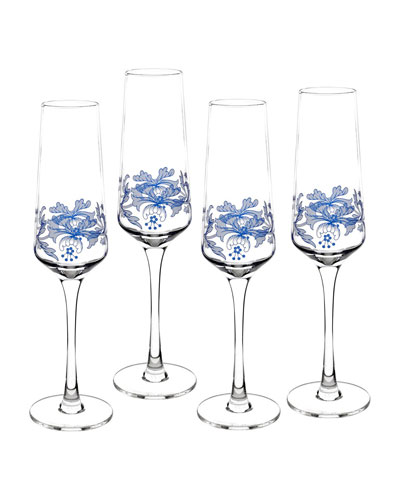 Blue Italian Champagne Flutes  Set of 4