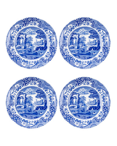 Blue Italian Salad Plates  Set of 4