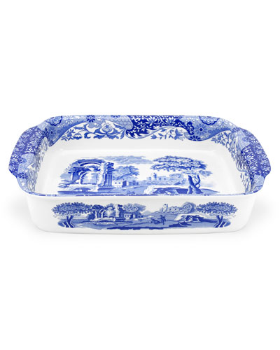 Blue Italian Rectangular Handled Dish