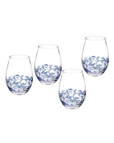 Blue Italian Stemless Glasses, Set of 4