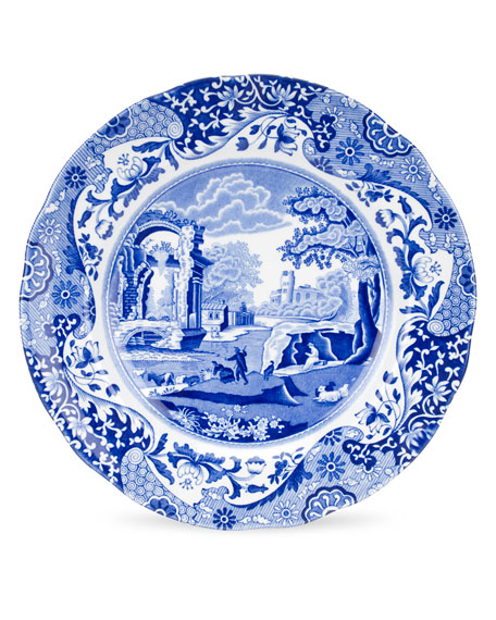 Blue Italian Luncheon Plates, Set of 4