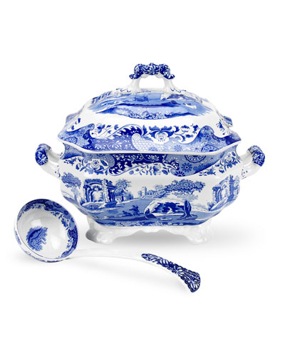 Blue Italian Soup Tureen and Ladle