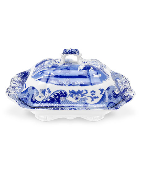 Blue Italian Vegetable Dish and Cover