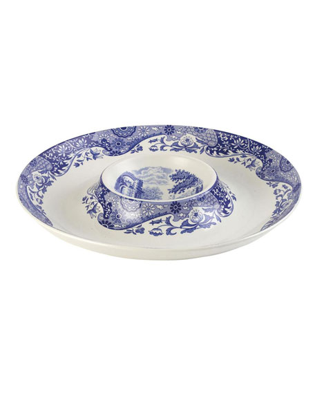 Blue Italian Chip and Dip Server