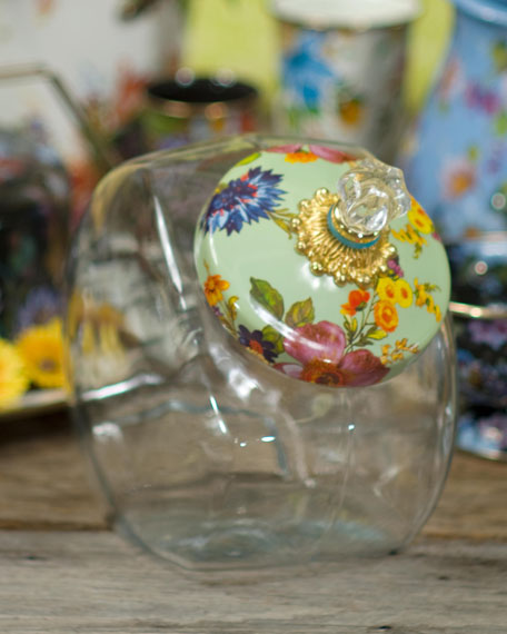 Green Flower Market Cookie Jar