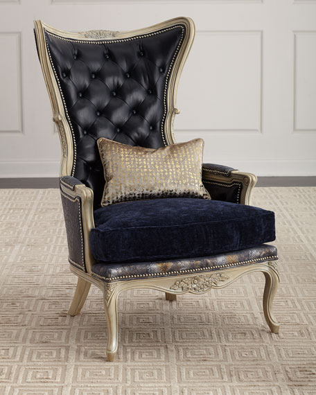 Massoud Celeste Leather Wing Chair
