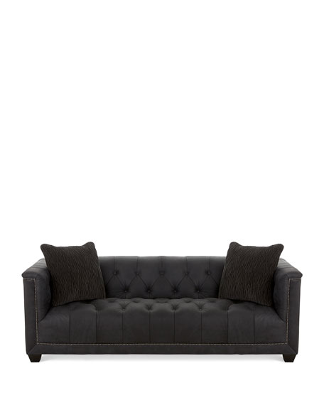 Paxton Tufted Leather Sofa, 90""