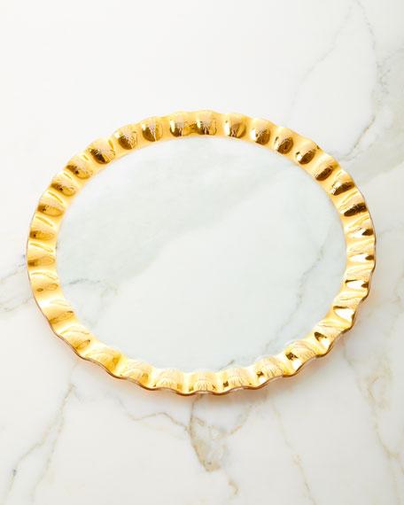 Annieglass Ruffled Gold Entertaining Platter