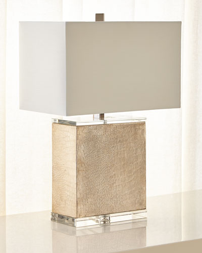 Croc-Embossed Table Lamp with Linen Shade