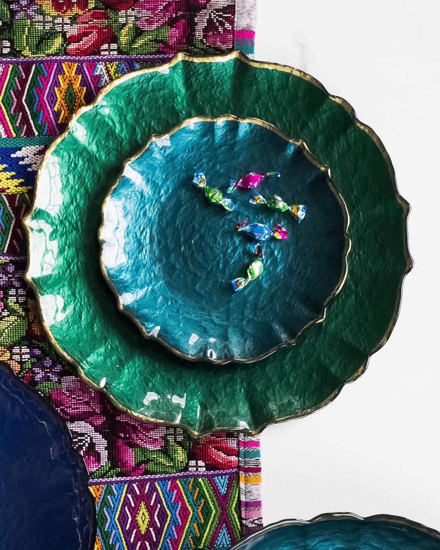 Vietripastel Glass Salad Plate Teal