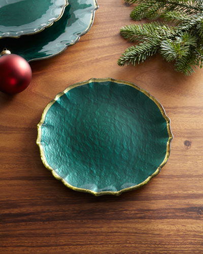 Pastel Glass Salad Plate, Emerald