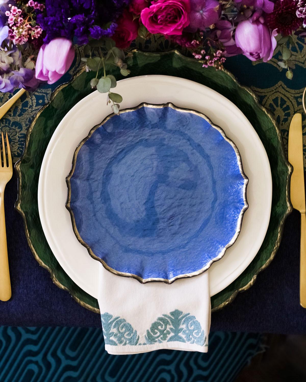 Vietripastel Glass Salad Plate Cobalt