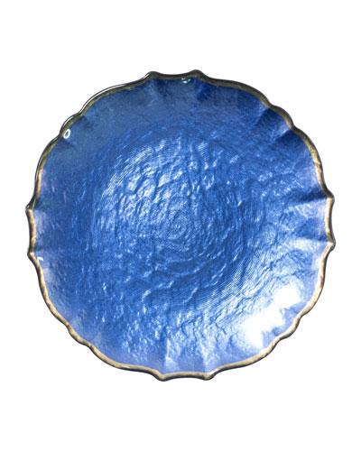 Pastel Glass Salad Plate  Cobalt