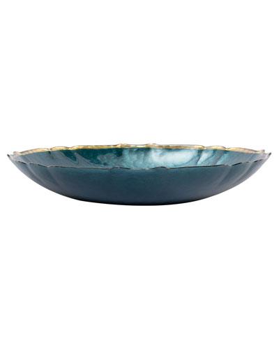 Pastel Glass Large Bowl, Teal