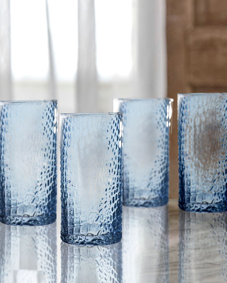 Bistro Croc Blue Highball Glasses, Set of 4