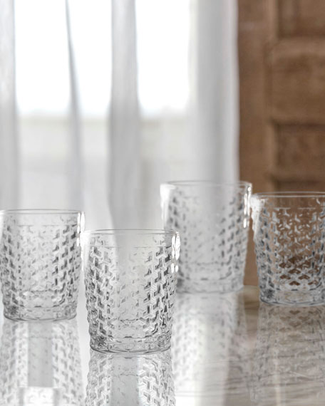 Bistro Weave Clear Double Old-Fashioned Glasses, Set of 4