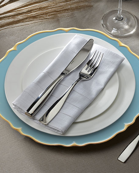 Elle Blue/Gold Scalloped Chargers, Set of 4