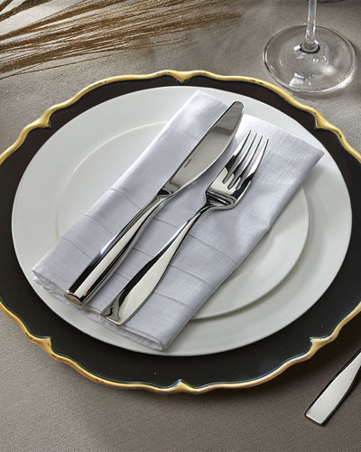 Elle Black/Gold Scalloped Chargers  Set of 4