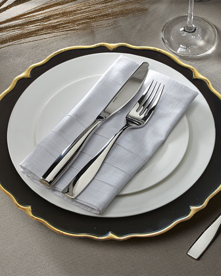 Elle Black/Gold Scalloped Chargers, Set of 4