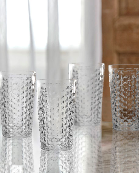 Bistro Weave Clear Highball Glasses, Set of 4
