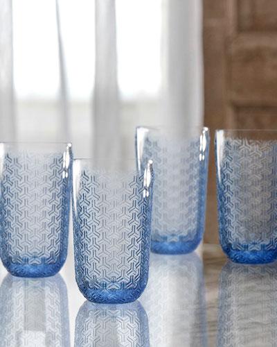 Bistro Key Blue Highball Glasses  Set of 4