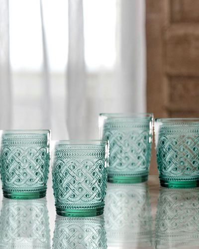 Bistro Ikat Green Double Old-Fashioned Glasses  Set of 4