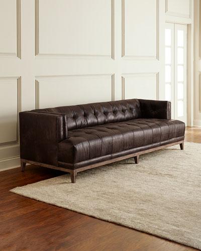 Quinn Tufted Leather Sofa 91.5