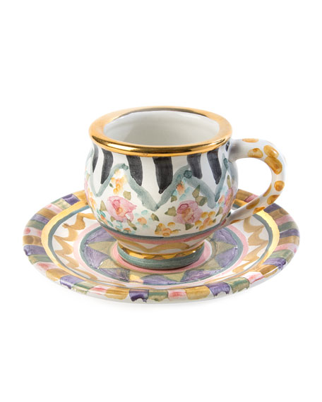 MacKenzie-Childs Bazaar Espresso Cup and Saucer Set