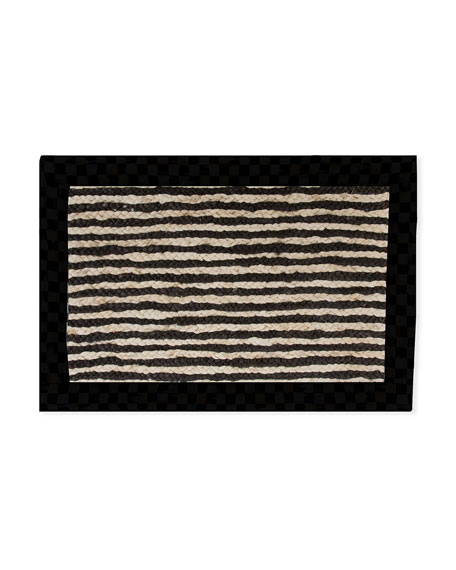 MacKenzie-Childs Black Braided Stripe Jute Rug, 2' x