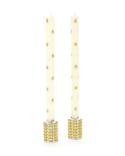 Glitter Star Dinner Candles, Set of 2