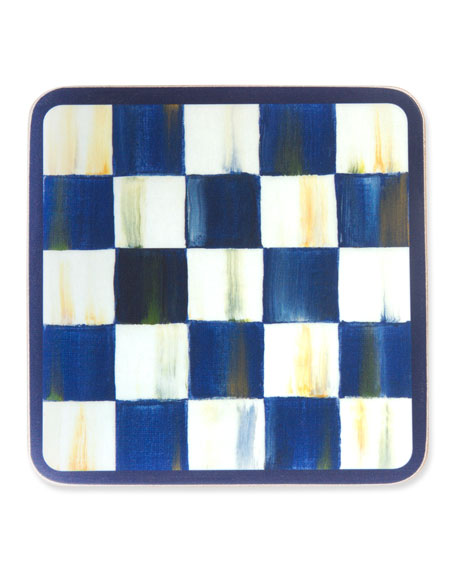MacKenzie-Childs Royal Check Cork Back Coasters, Set of