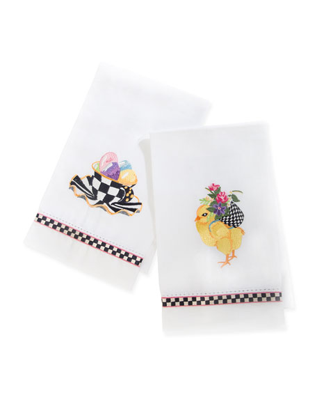 MacKenzie-Childs Chicks and Eggs Guest Towels, Set of