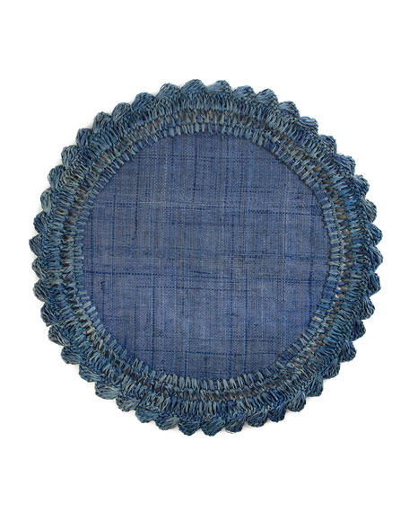 MacKenzie-Childs Boheme Raffia Placemat, Sea Blue