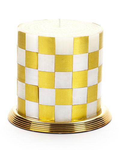 Checker Gold Pillar Candle