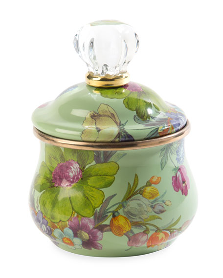 MacKenzie-Childs Flower Market Lidded Sugar Bowl, Green