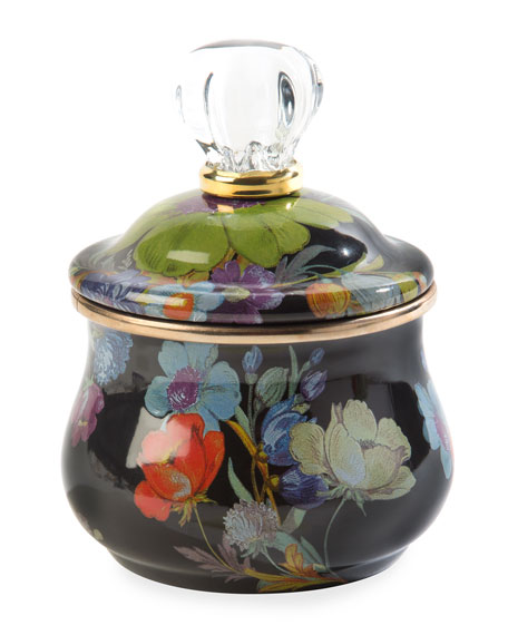 MacKenzie-Childs Flower Market Lidded Sugar Bowl, Black
