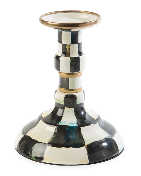 Courtly Check Enamel Small Candlestick Holder
