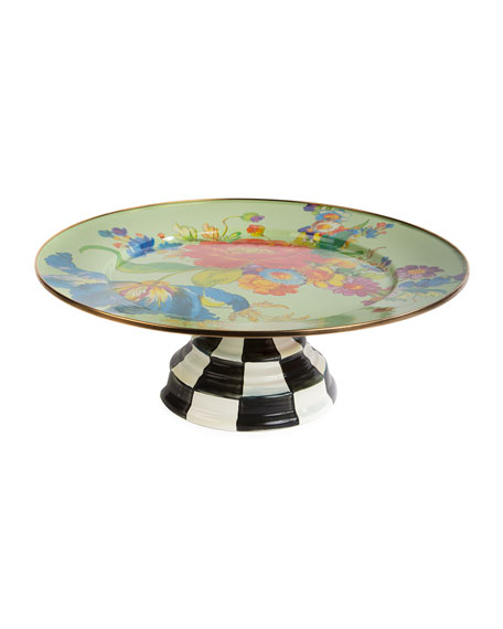 MacKenzie-Childs Flower Market Pedestal Platter, Green