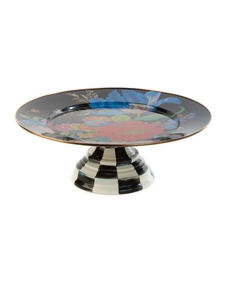 MacKenzie-Childs Flower Market Pedestal Platter, Black