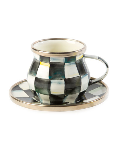 Courtly Check Enamel Espresso Cup & Saucer Set