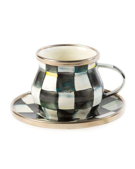 MacKenzie-Childs Courtly Check Enamel Espresso Cup & Saucer